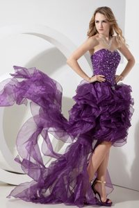 Purple High-low Beaded Prom Dresses with Sweetheart for Summer