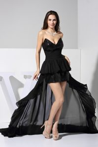 Fashionable Black High-low Chiffon Prom Dress with V-neck and Ruched Sash