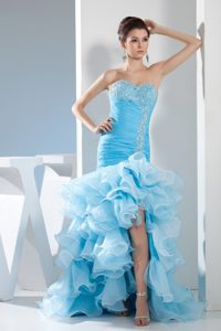 Fashionable Mermaid Sweetheart Beaded Prom Dresses Ruffles in Baby Blue