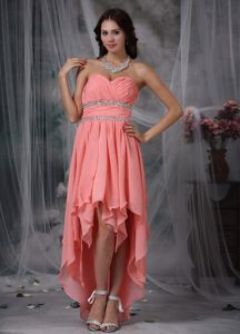Column Prom Dress Sweetheart High-low Chiffon Beaded in Watermelon Red