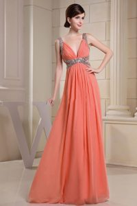 V-neck Beading Orange Casual Holiday Dresses with Cutouts Waist