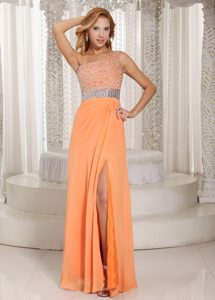 High Slit One Shoulder Orange Beaded Holiday Dress on Wholesale Price