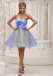 Lovely Colorful Sweetheart Ruched Holiday Dress with Hand Made Flower
