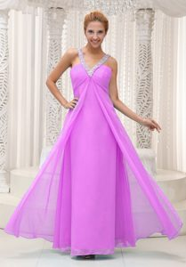Modern Beaded V-neck Ruched Pink Chiffon Holiday Dress on Promotion