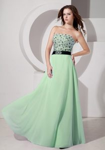 2014 Luxurious Light Green Empire Strapless Chiffon Beaded Holiday Dress