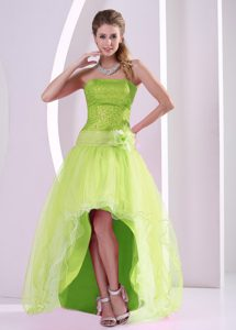 High-low Yellow Green Holiday Dress with Sequins and Hand Made Flower