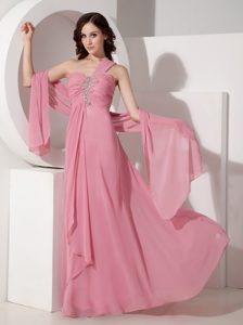 2014 Exquisite Pink One Shoulder Holiday Dress with Beading and Ruching