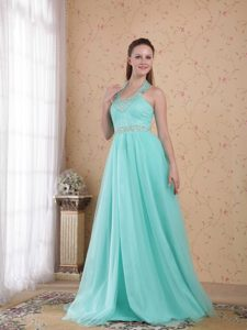 Popular Blue Empire Halter Top Tulle Beaded Holiday Dress on Promotion