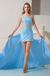 Aqua Blue Straps High-low Holiday Dress with Beading and Ruching on Sale