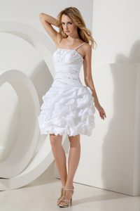 White Beaded Short Mini-length Holiday Dress with Spaghetti Straps