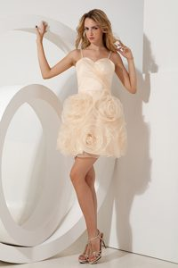 Sweet Champagne Mini-length Holiday Dress with Rolling Flowers