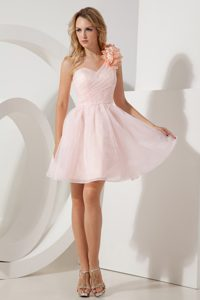 New Pink One Shoulder Mini-length Holiday Dress with Hand Made Flowers