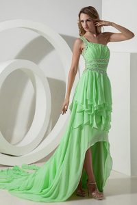 Beautiful Spring Green One Shoulder High-low 2014 Holiday Dress Ruched