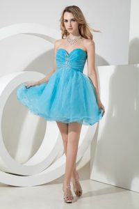 Aqua Blue Sweetheart Mini-length Holiday Dresses with Beading