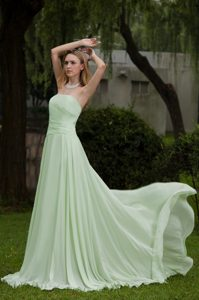 Gorgeous Apple Green Strapless A line Chiffon Holiday Dress with Ruffles