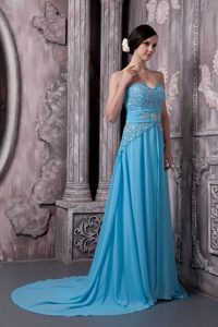 Uptown Chiffon Material Holiday Dress with Beading and Ruffles and Chapel Train