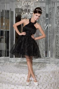 Groovy Black Mini-length Holiday Dress with Halter Top in Material