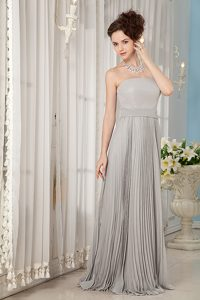 Strapless Long Gray Chiffon Summer Holiday Dresses with Pleats for Cheap