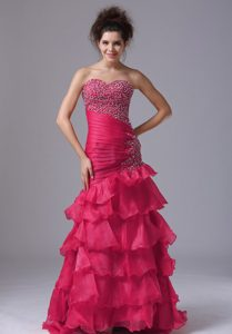 New Red Mermaid Sweetheart Homecoming Dress with Ruffled Layer