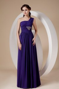 Purple Column One Shoulder Chiffon Beaded and Ruched Homecoming Dress