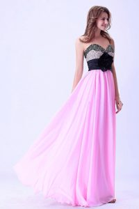 Pink and Black Sweetheart Beaded Homecoming Dress with Hand Made Flower