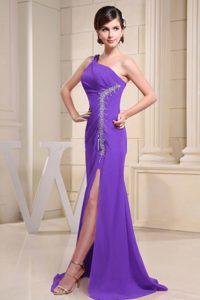Purple High Slit and One Shoulder Homecoming Dress with Beading for Cheap