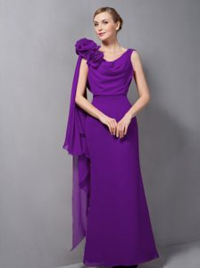 Purple Column Chiffon Homecoming Dress with Hand Made Flower for Cheap