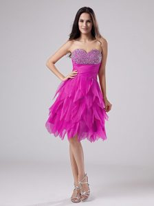 Modern Beaded Decorated Sweetheart Fuchsia Homecoming Dress with Ruffles