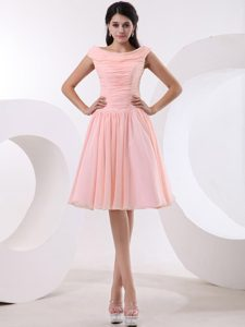 Bateau Peach Pink Homecoming Dress with Ruched Bodice for Custom Made