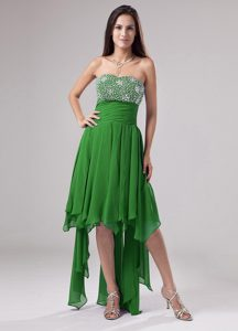 Lovely Green Strapless Beaded and Ruched Homecoming Dresses for Cheap