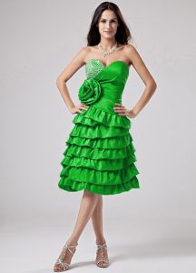 Bright Green Homecoming Dress with Ruffled Layers and Hand Made Flower