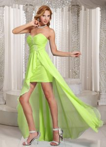 Wholesale High-low Sweetheart Homecoming Dress with Beading and Ruching