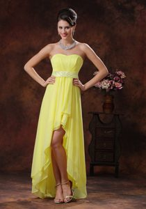 Pretty Light Yellow High-low Homecoming Dresses with Belt Decorated on Sale