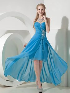 Sweet Blue High-low Sweetheart Chiffon Beaded Homecoming Dress on Sale