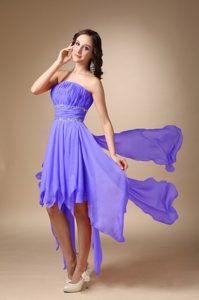 New Purple A-line Strapless Asymmetrical Chiffon Beaded Homecoming Dress