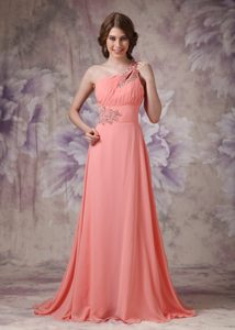 Romantic Empire One Shoulder Chiffon Ruched and Beaded Homecoming Dress