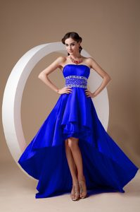High-low Royal Blue A-line Strapless Beaded Homecoming Dress on Promotion