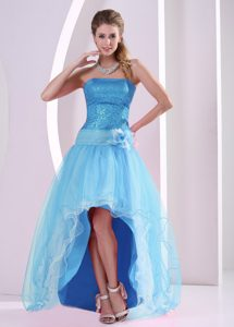 New High-low Aqua Blue Flower Homecoming Dress with Sequins and Flower