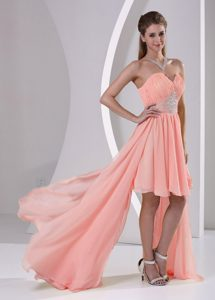Best Seller Chiffon High-low Peach Homecoming Dresses with Beading