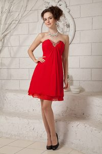Romantic Mini Red Empire Sweetheart Beading Maxi Party Dresses