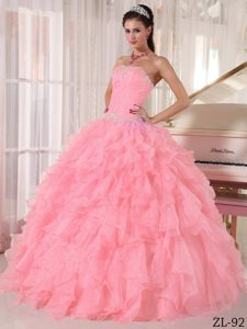 Watermelon Pretty Strapless Beading Dresses for a Quinceanera in