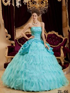 Dressy Aqua Blue A-line Strapless Quinceanera Gown and Organza