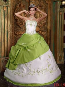 Dashing Yellow Green Strapless Embroidery Quinceanera Gown Dress