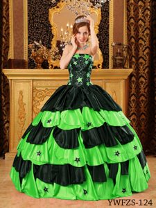 Black And Spring Green Strapless Tony Quinceanera Dress Gowns