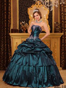Green Strapless Stunning Quinceanera Dress with Appliques on Sale