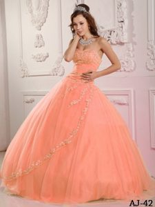 Romantic Sweetheart Tulle Appliqued Pink Quinceanera Dresss to Floor