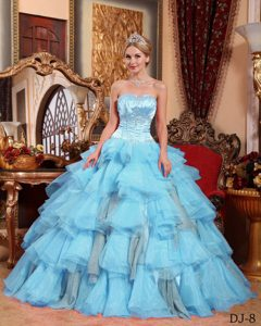 Trendy Aqua Blue Sweetheart Quinceaneras Dress in to Floor Length