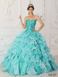 Blue Sweetheart and Sweet 16 Quinceanera Dress with Beading