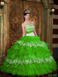 Green Strapless and Zebra Quinceanera Dress with Ruffles for Cheap
