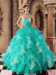 Blue Strapless Beaded and Ruffled Quinceanera Dress on Promotion
